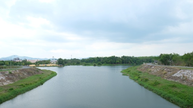 Flood diversion canal number 1, looking over to Hat Yai city center