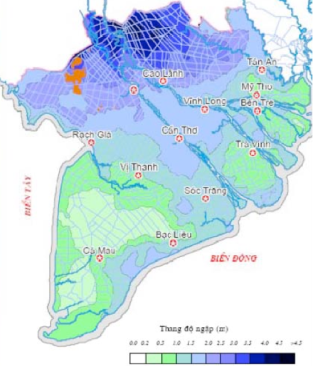 Ngập lụt ở Đồng Bằng sông Cửu Long năm 2050. Nguồn: Viện Quy Hoạch Thuỷ Lợi Miền Nam