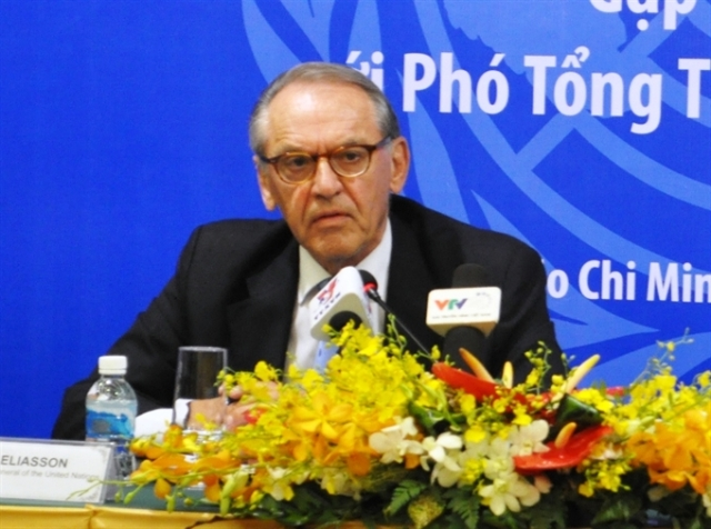 UN Deputy Secretary General Jan Eliasson at the press briefing in Ho Chi Minh City